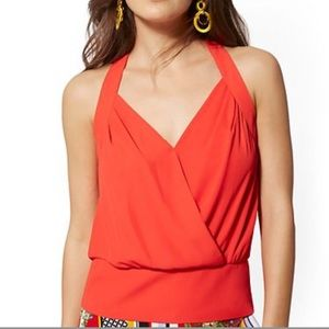 NWT New York & Company orange halter neck top
